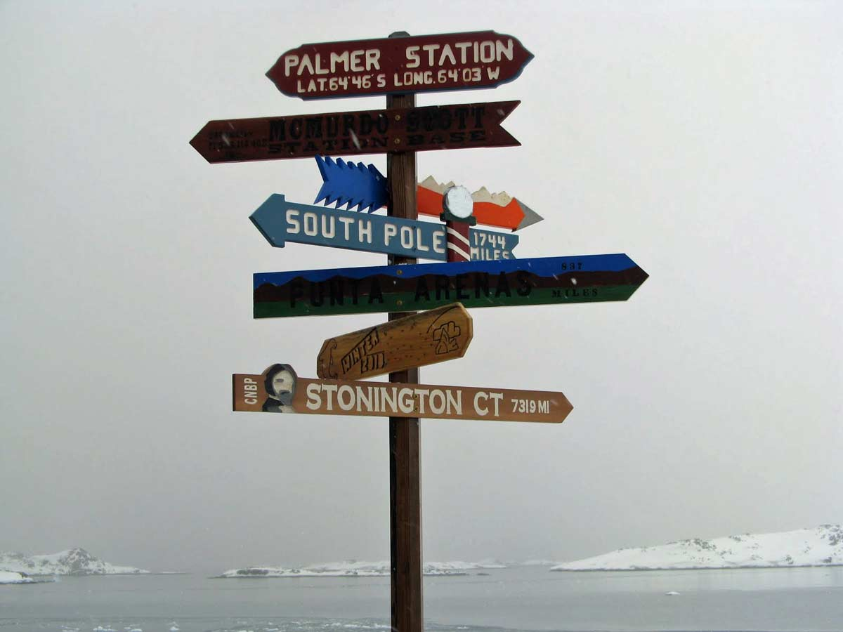 palmer station signpost