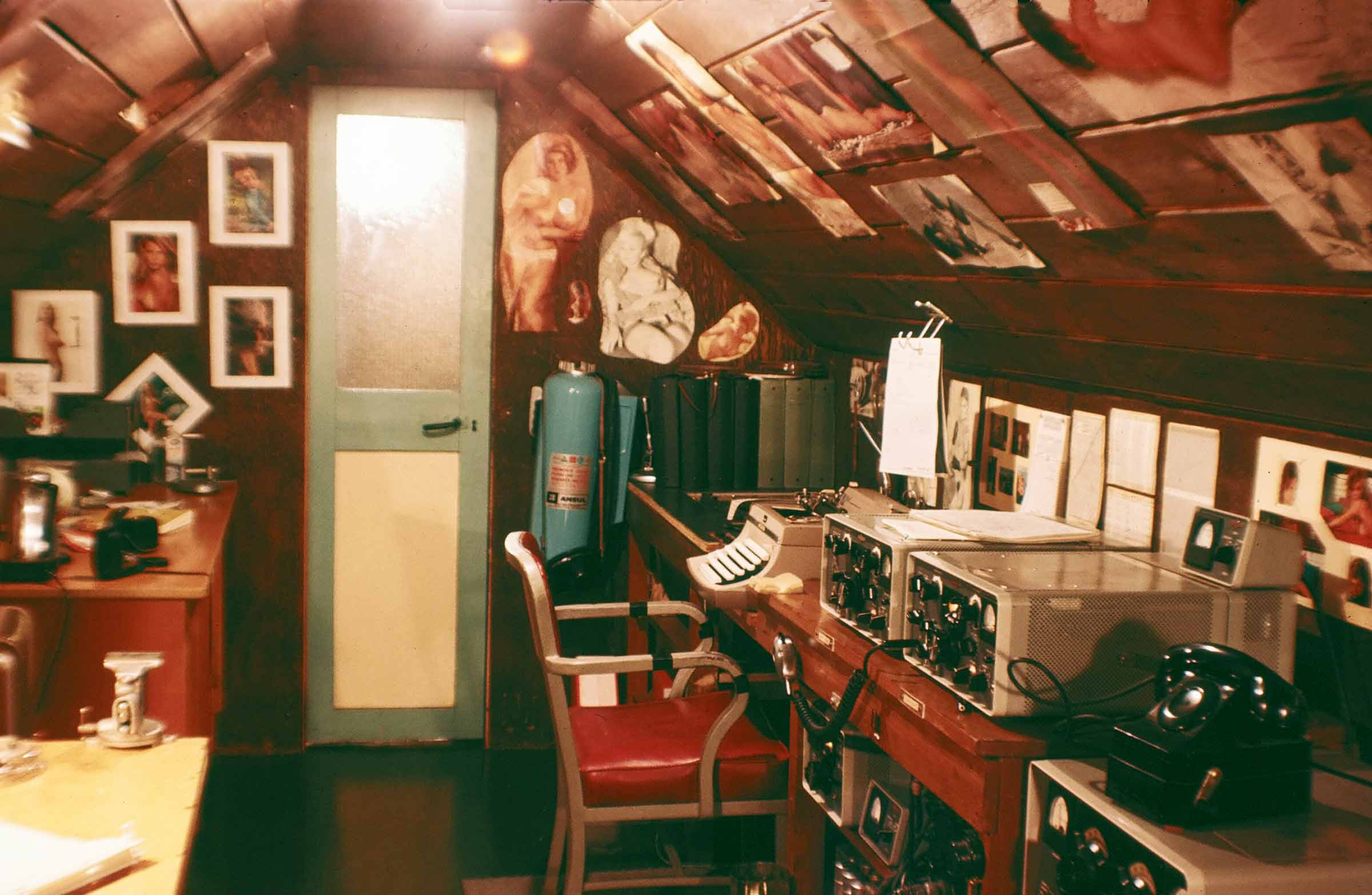 The Palmer radio room in the attic of Base N & The BAS Hut and Old Palmer 1965